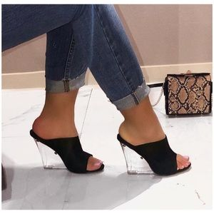 0fc2aeef407 Shoes - Sexy Black Wedges with Clear Heel